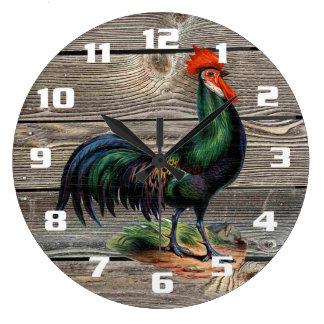 Reloj Redondo Grande Cocina rústica del gallo del país