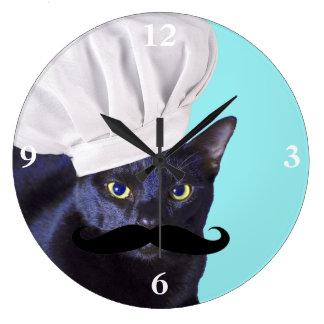 Reloj Redondo Grande Cocinero italiano, gato negro