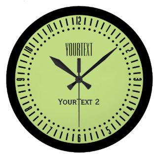 Reloj Redondo Grande Color de acento en colores pastel del verde de la