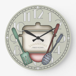 Reloj Redondo Grande Color de cocinar lindo del personalizado de los