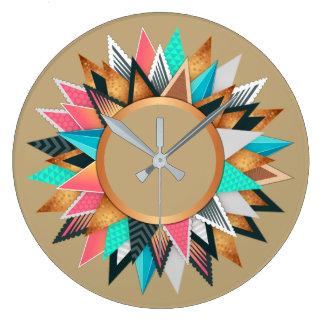 Reloj Redondo Grande Color vivo del modelo azteca mexicano del sudoeste