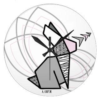 Reloj Redondo Grande Conejo origami