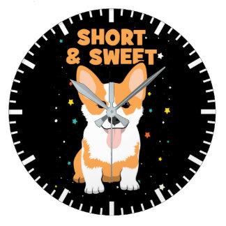 Reloj Redondo Grande Corgi - cortocircuito y dibujo animado dulce,