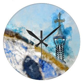 Reloj Redondo Grande Cruz en Parc Guell en Barcelona España