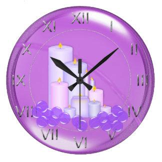 Reloj Redondo Grande Cuarto de baño púrpura de relajación de la vela