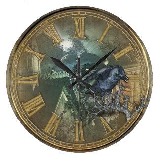 Reloj Redondo Grande Cuervo negro gótico