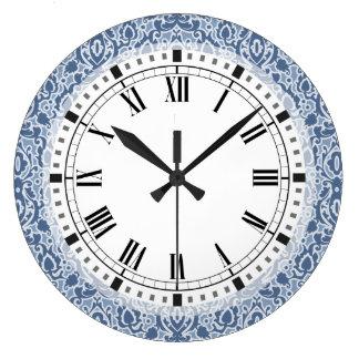 Reloj Redondo Grande Damasco elegante azul de Marruecos Casbah
