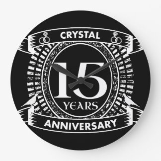 Reloj Redondo Grande décimo quinto aniversario de boda blanco y negro