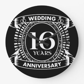 Reloj Redondo Grande décimosexto aniversario de boda blanco y negro