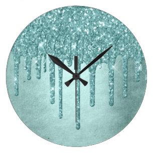 Reloj Redondo Grande Decoración lujosa  Turquesa pastel y menta