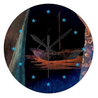 Reloj Redondo Grande Decoración soñadora de la playa de la navegación
