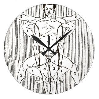 Reloj Redondo Grande Diagrama divertido de la natación del vintage