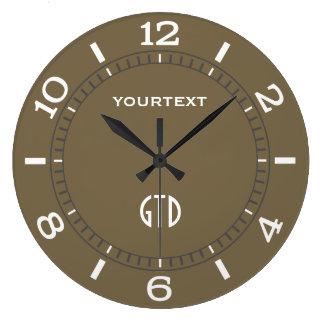 Reloj Redondo Grande Dial de color topo de la decoración personalizado