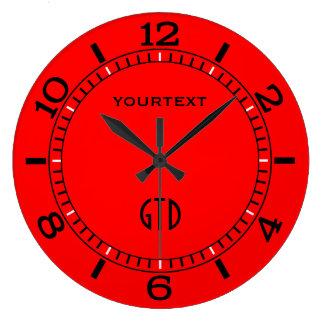 Reloj Redondo Grande Dial rojo del fuego vibrante a personalizar en a