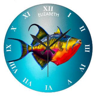 Reloj Redondo Grande Dibujo colorido psicodélico de los pescados del