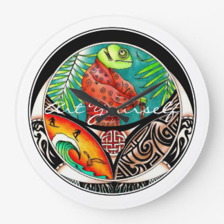 Reloj Redondo Grande Dibujo del arte del camaleón