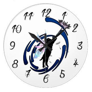 Reloj Redondo Grande Diente de león cósmico del gato
