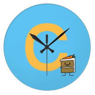Reloj Redondo Grande Dientes del conejito de la rebanada de la torta de