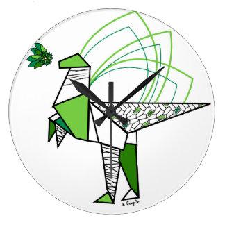 Reloj Redondo Grande Dino origami