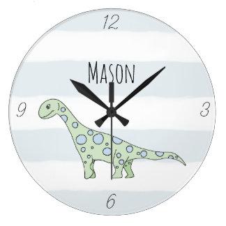 Reloj Redondo Grande Dinosaurio del Doodle del bebé con el cuarto de