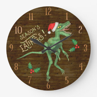 Reloj Redondo Grande Dinosaurio divertido Eatings del Velociraptor del