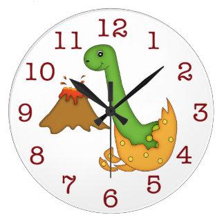 Reloj Redondo Grande Dinosaurio y volcán anaranjado lindo/números