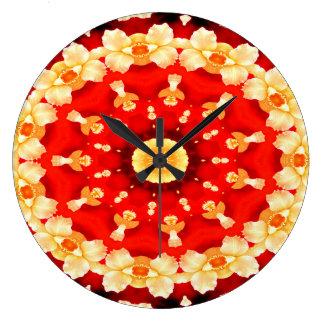 Reloj Redondo Grande Diseño concéntrico Abstracto-Arte-Rojo y amarillo