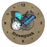 Reloj Redondo Grande Diseño de bolsillo de mariposas azules de Punk de