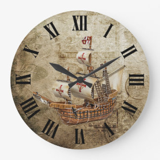 Reloj Redondo Grande Diseño de los números romanos de la nave del
