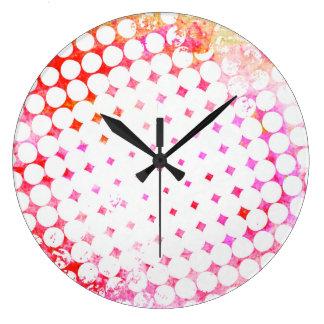 Reloj Redondo Grande Diseño de ráfaga rosado del cómic