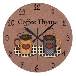 Reloj Redondo Grande Diseño del café de la cocina del arte del country