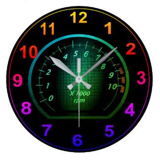 Reloj Redondo Grande Diseño temático automotriz del dial del coche