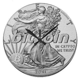 Reloj Redondo Grande Dólar de plata Bitcoin Cryptocurrency HODL
