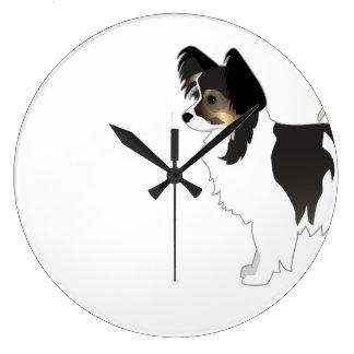 Reloj Redondo Grande Ejemplo tricolor de la raza del perro de juguete