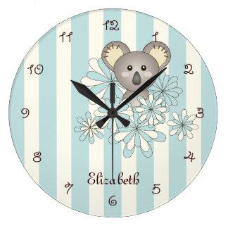 Reloj Redondo Grande El azul en colores pastel de la koala animal linda