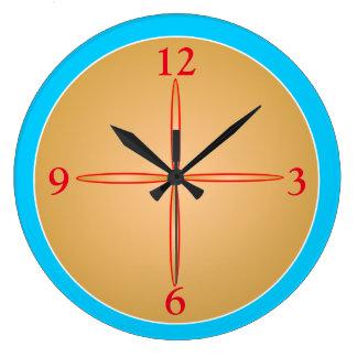 Reloj Redondo Grande El azul/la aguamarina simplistas con el centre>
