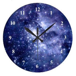 Reloj Redondo Grande El cobalto soña el universo del espacio de las