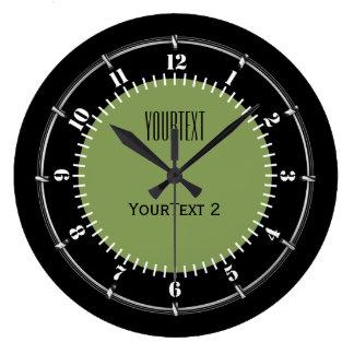 Reloj Redondo Grande El color sólido del fondo del verde de musgo
