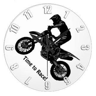 Reloj Redondo Grande El competir con de la Suciedad-bici