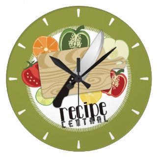 Reloj Redondo Grande El cuchillo de encargo de los cocineros del color