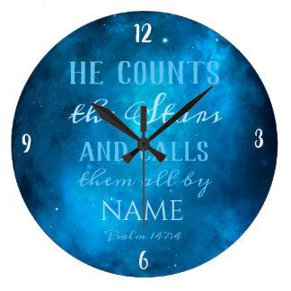 Reloj Redondo Grande Él cuenta las estrellas en el universo