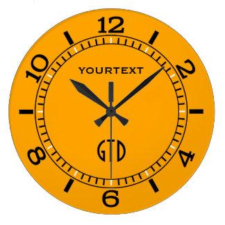 Reloj Redondo Grande El dial amarillo de la decoración del tráfico