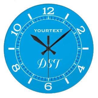 Reloj Redondo Grande El dial de la decoración del azul de cielo