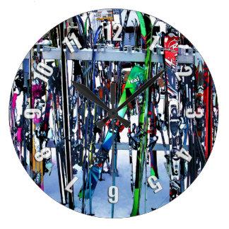 Reloj Redondo Grande El fiesta del esquí - esquís y postes