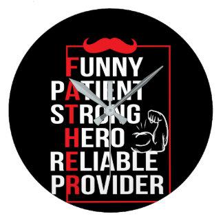 Reloj Redondo Grande El héroe fuerte paciente del padre confiable