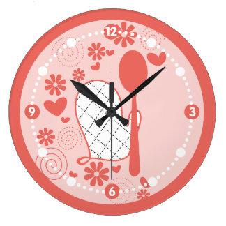 Reloj Redondo Grande El mitón femenino del horno del color de encargo