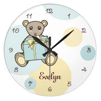Reloj Redondo Grande El oso de peluche lindo personalizado embroma el