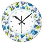 Reloj Redondo Grande El pensamiento azul florece el estampado de flores