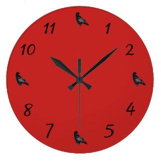 Reloj Redondo Grande El tiempo del cuervo vuela