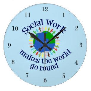Reloj Redondo Grande El trabajo social hace que el mundo va alrededor